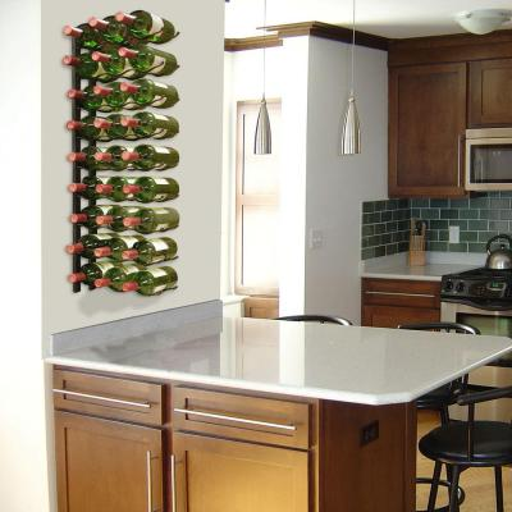 27-Bottle Metal Wine Rack in Black