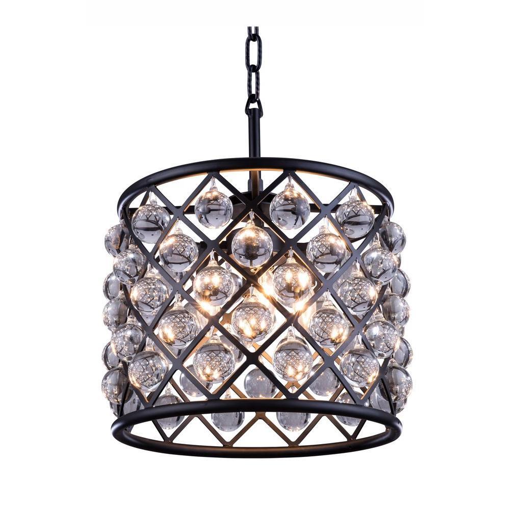 Elegant Lighting Madison 3-Light Mocha Brown Chandelier with Clear Crystal