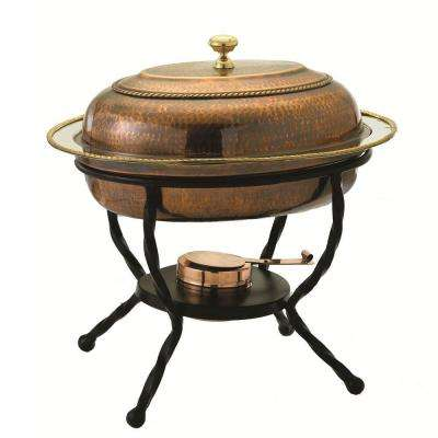 6 qt. 16.5 in. x 12.75 in. x 19 in. Oval Antique Copper over Stainless Steel Chafing Dish