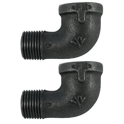 1/2 in. Black Iron 90° Street Elbow (2-Pack)