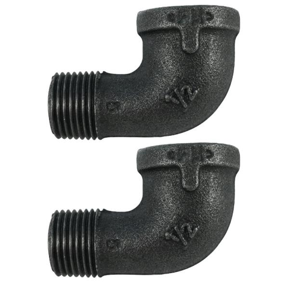 1/2 in. Black Iron 90° Street Elbow (2-Pack)