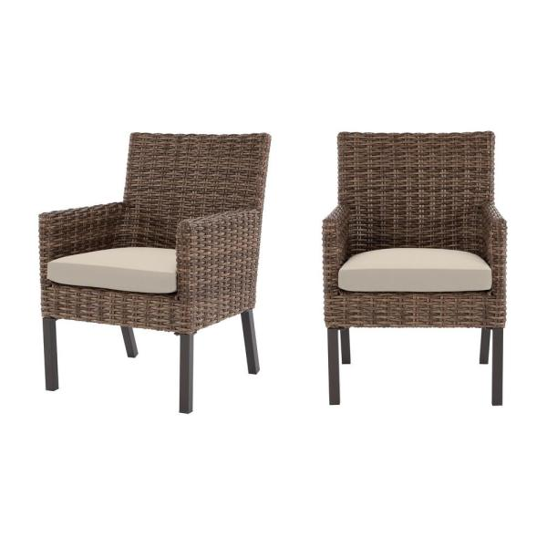 Fernlake Taupe Wicker Outdoor Patio Stationary Dining Chair with CushionGuard Chalk White Cushions (2-Pack)