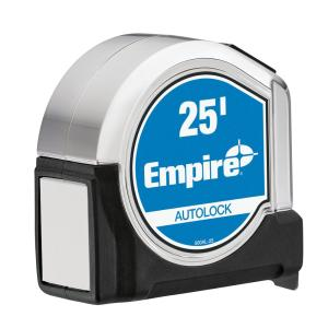 Click here to buy Empire 25 ft. Chrome Auto Lock Tape Measure by Empire.