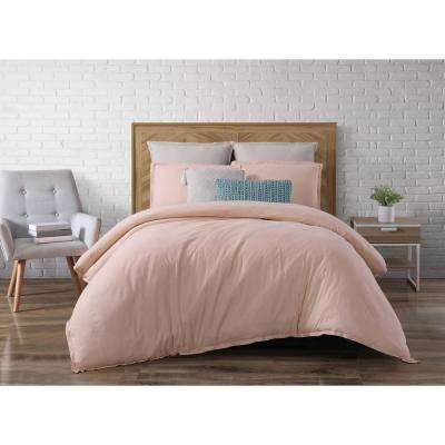 Chambray Loft Blush Queen Duvet Set