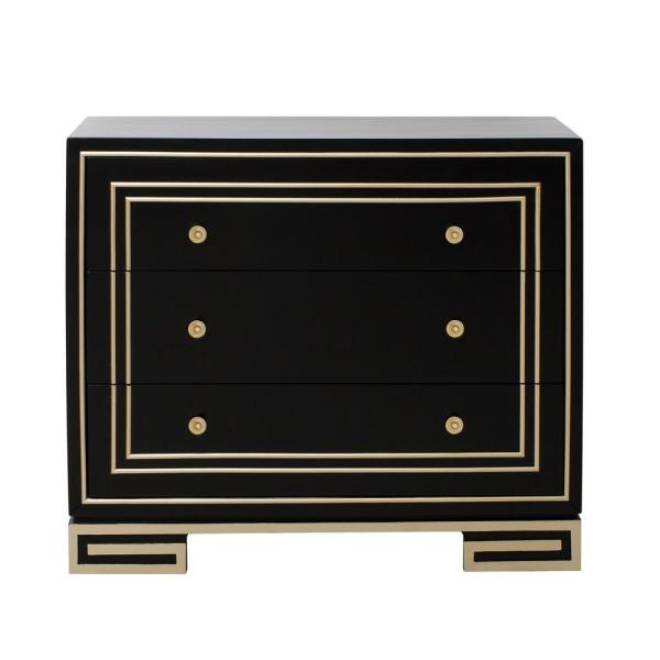 HomeFare Modern Style Black with Champagne Gold Overlay Accent Drawer Chest