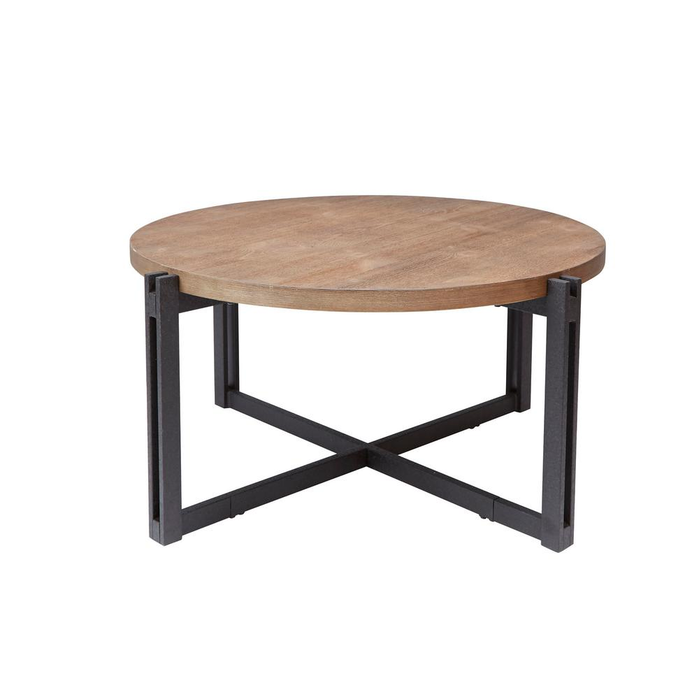 Silverwood Dakota Gray And Brown Round Wood Top Coffee Table Cpft1275cofrwo The Home Depot