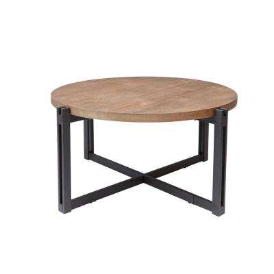 Dakota Gray and Brown Round Wood Top Coffee Table