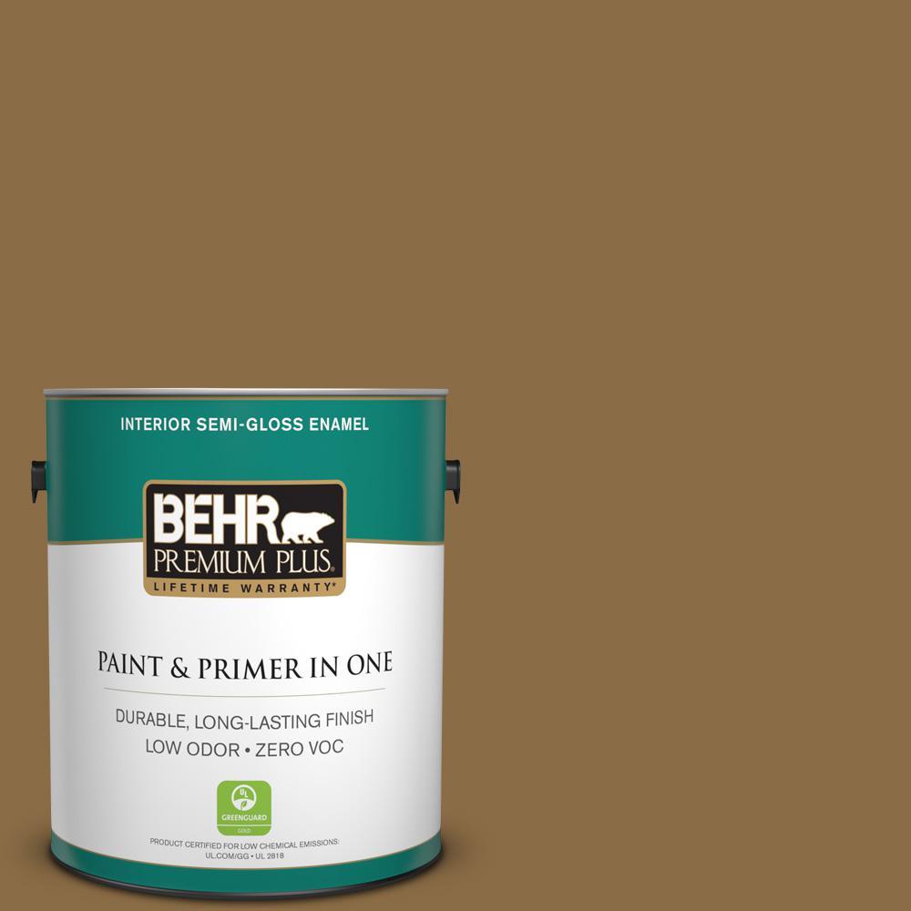 1-gal. #330F-7 Nutty Brown Zero VOC Semi-Gloss Enamel Interior Paint