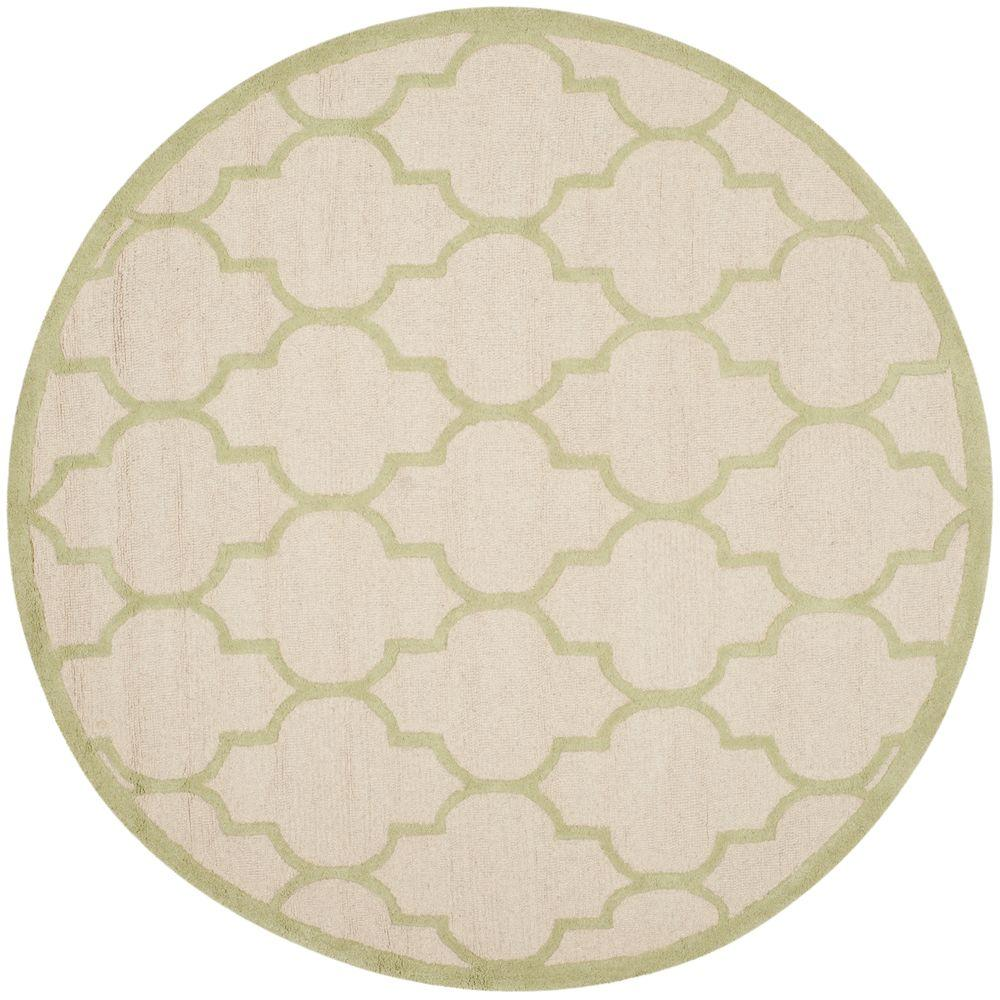 Cambridge Ivory/Light Green 6 ft. x 6 ft. Round Area Rug