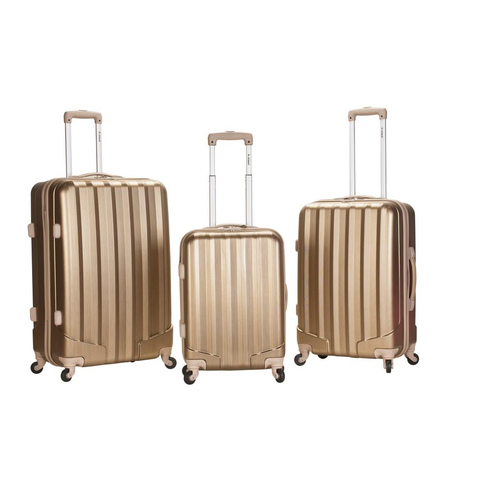 Rockland Luggage 3-Piece Hardside Metallic Hardside Upright Luggage Set, Bronze