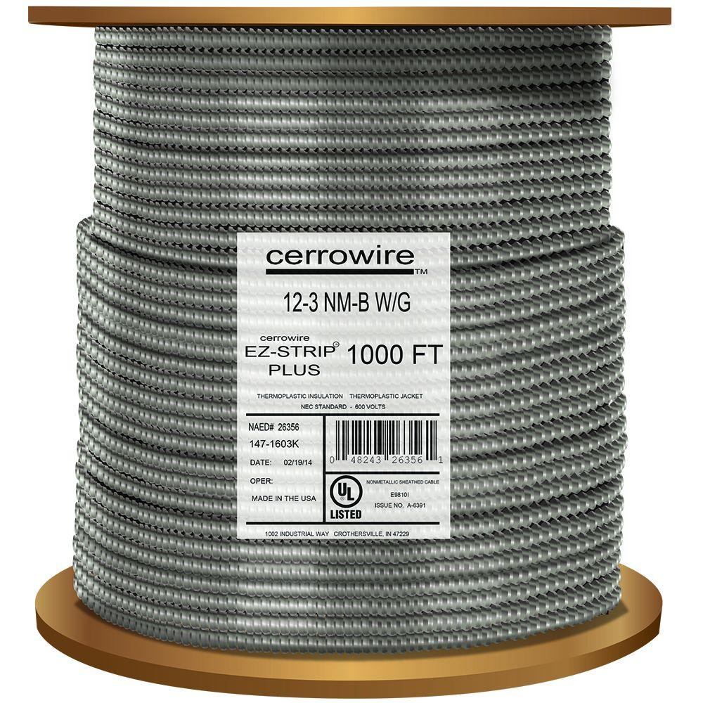 Cerrowire 1000 ft. 12-3 MC Cable Alum Rl