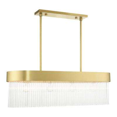 Norwich 4-Light Soft Gold Drum Chandelier with Metal Shade and Crystal Rods
