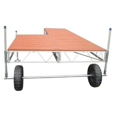 16 ft. Patio Roll-in Dock with Brown Aluminum Decking