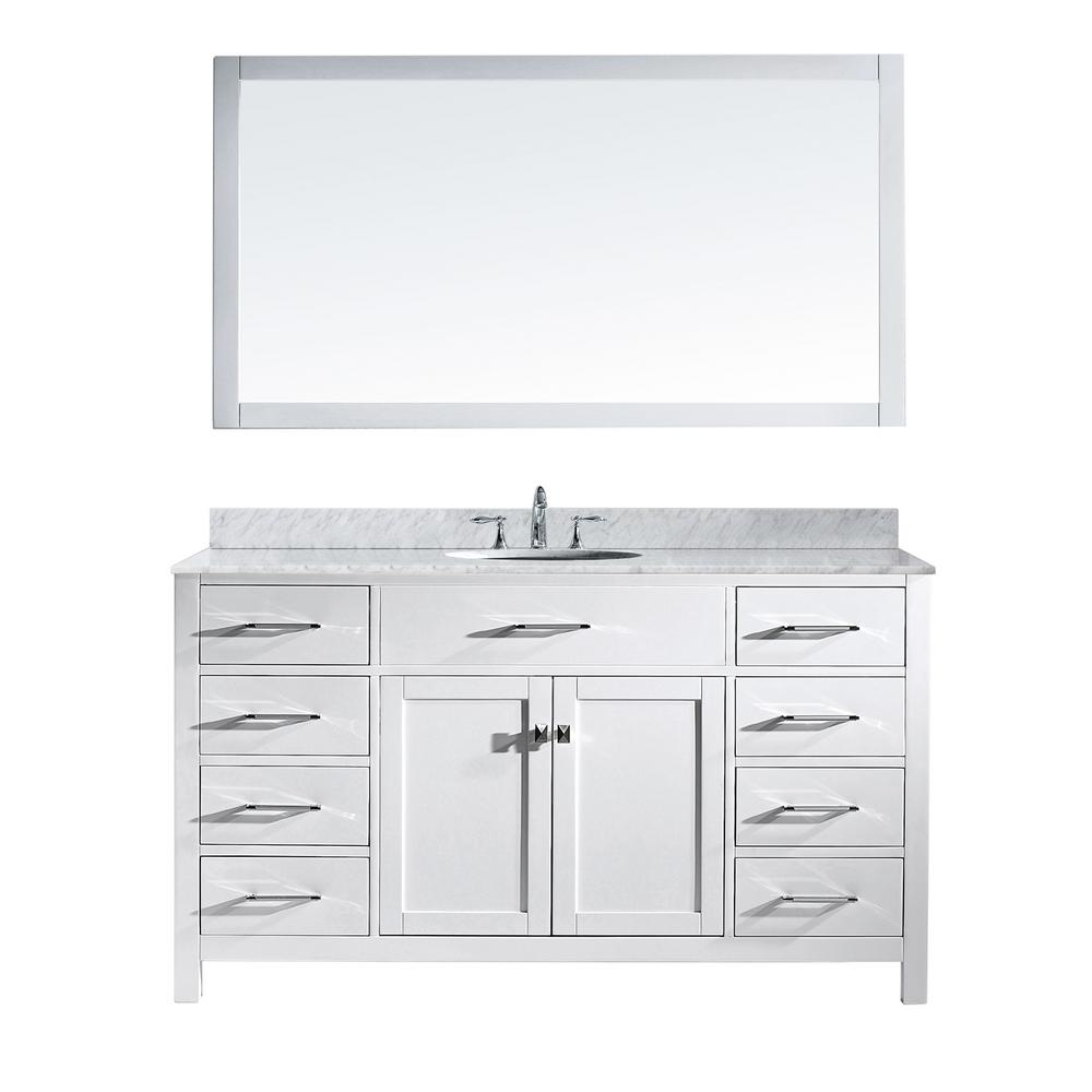 "Virtu Caroline 60"" Single Bathroom Vanity in White with Marble Top and Round Sink with Mirror"