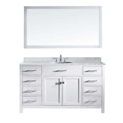 Caroline 60 in. W x 36 in. H Vanity with Marble Vanity Top in Carrara White with White Round Basin and Mirror