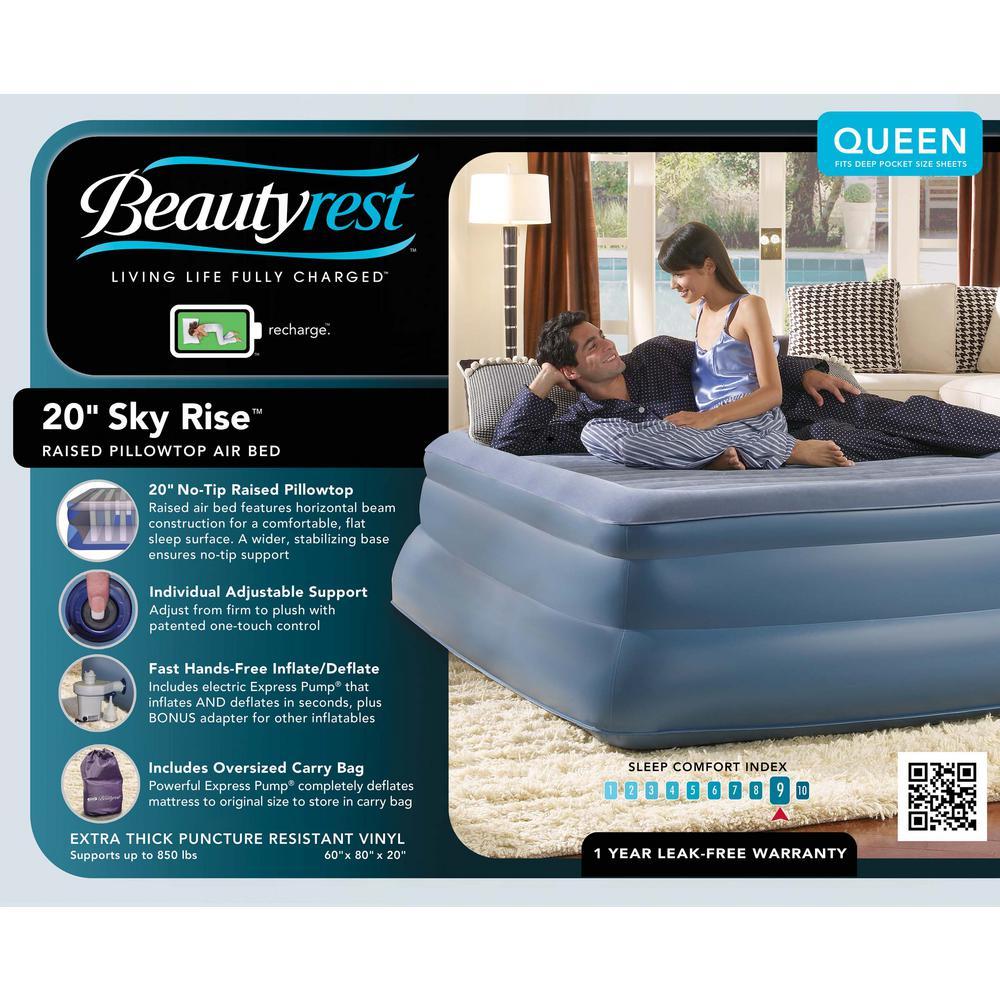 beautyrest air mattress. +3. Simmons Beautyrest Sky Rise Queen Air Mattress A