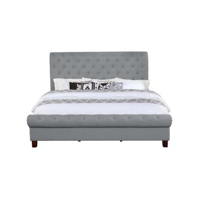Eastern Gray King Size Upholstered Rounded Panel Bed