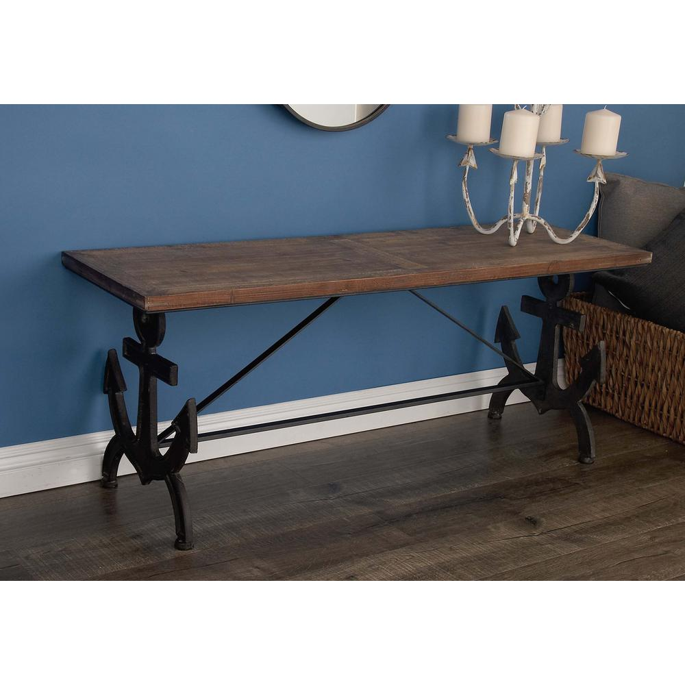 79 in. x 19 in. Wood and Stainless Steel Bench
