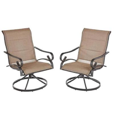Crestridge Steel Padded Sling Swivel Outdoor Patio Dining Chair in Putty Taupe (2-Pack)