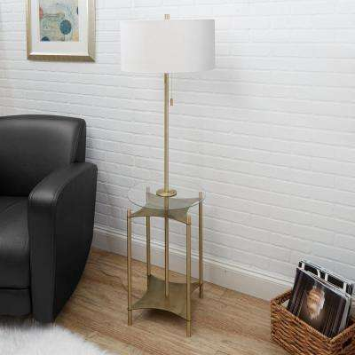 Alyssa 56.5 in. Gold Floor Lamp with Linen Shade