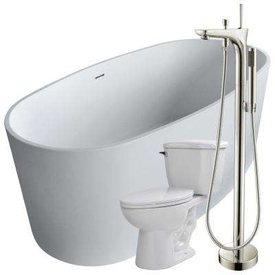 Roccia 61.4 in. Man-Made Stone Flatbottom Non-Whirlpool Bathtub in White with Kase Faucet and Kame 1.28 GPF Toilet