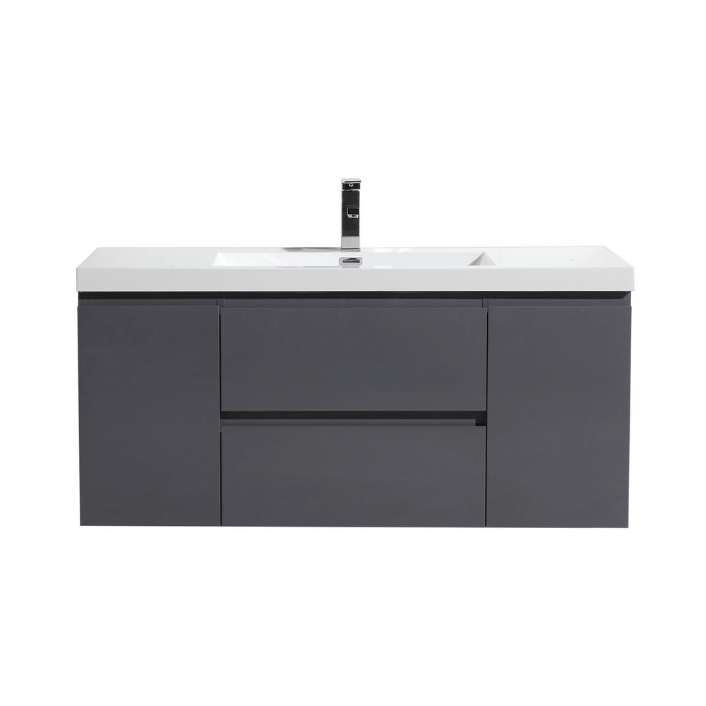 W Bath Vanity In High Gloss Gray With Reinforced Acrylic Top White Basin Mob48 Gr The Home Depot