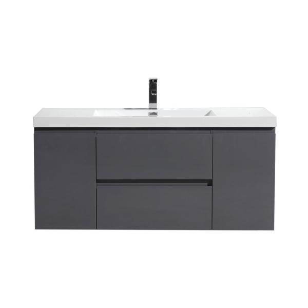 Bohemia 48 in. W Bath Vanity in High Gloss Gray with Reinforced Acrylic Vanity Top in White with White Basin