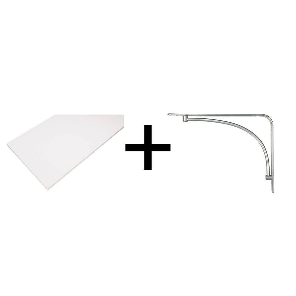 Rubbermaid 8 in. x 48 in. White Laminated Wood Shelf with Satin ...