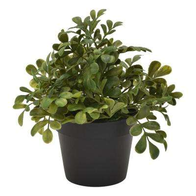 8 in. Plastic Flower Pot Artificial Greenery in Green