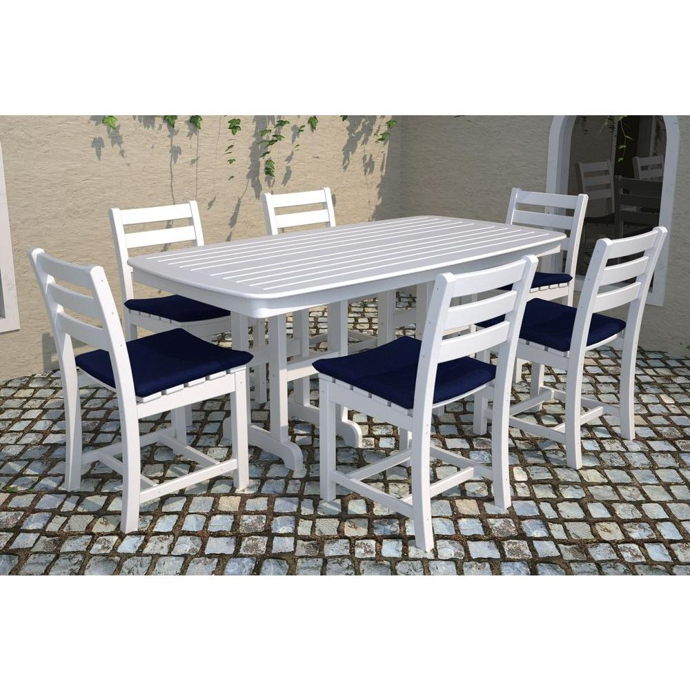 POLYWOOD Nautical 37 in. x 72 in. Sand Plastic Outdoor Patio Dining Table