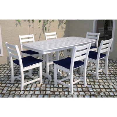 Nautical 37 in. x 72 in. White Plastic Outdoor Patio Dining Table
