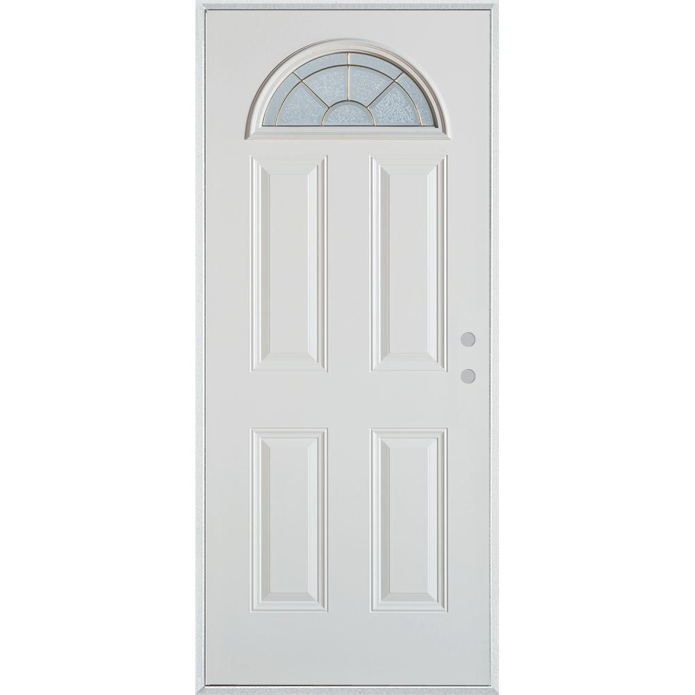 Stanley Doors 32 in. x 80 in. Geometric Brass Fan Lite 4-Panel Painted White Left-Hand Inswing Steel Prehung Front Door