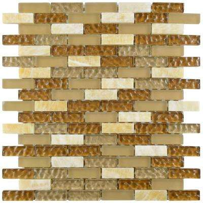 Tessera Subway Amber 10-3/4 in. x 11-3/4 in. x 8 mm Glass and Stone Mosaic Tile
