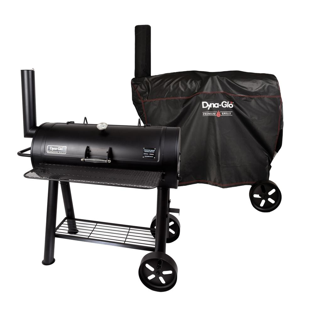 Signature Series Heavy Duty Barrel Charcoal Grill in Black with Cover