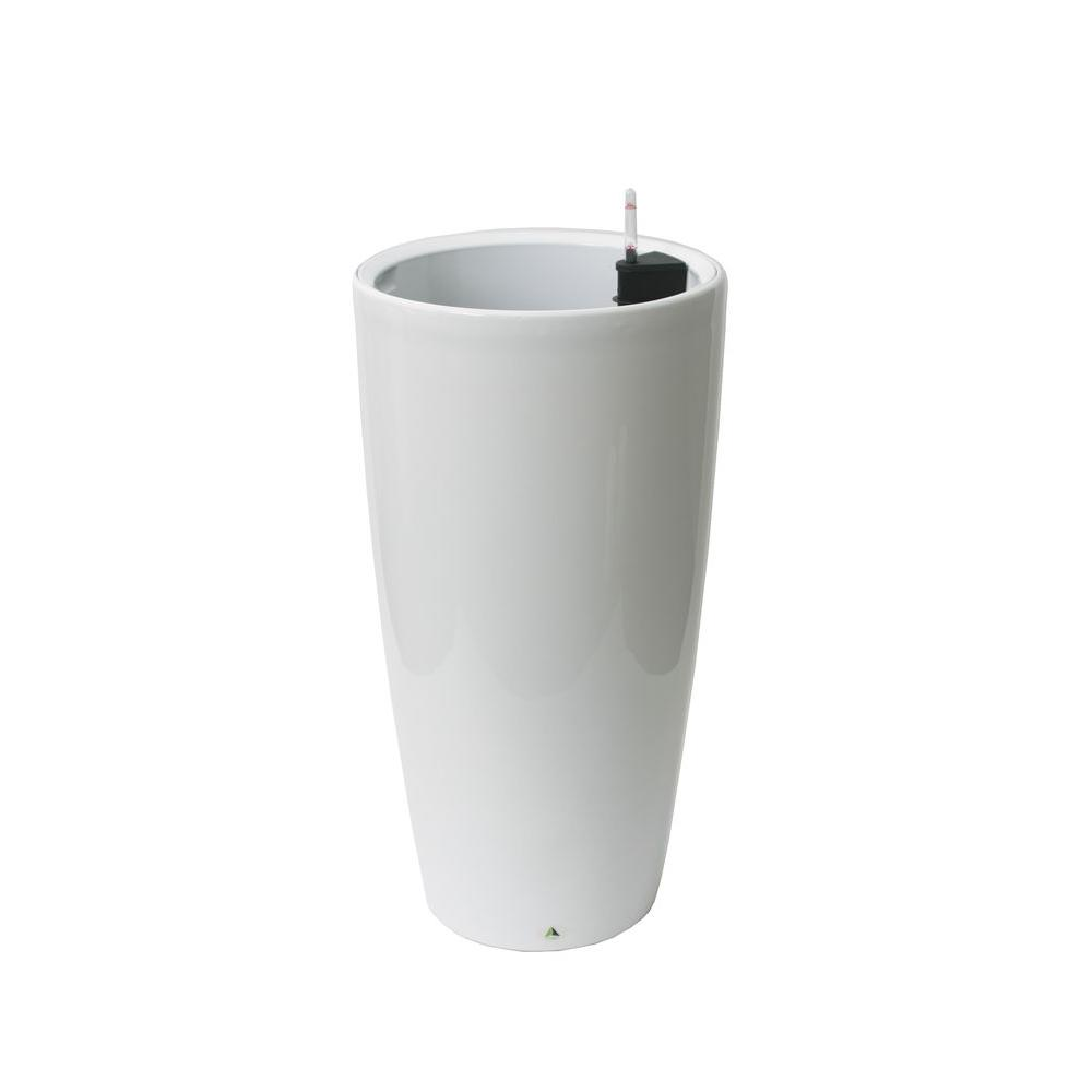 Modena 30 in White Round Self-Watering Plastic Planter