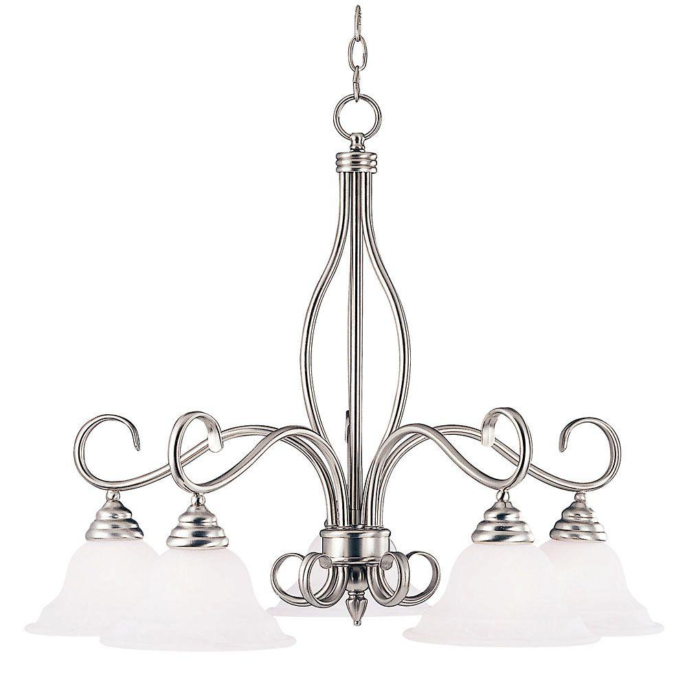 5-Light Pewter Chandelier with White Faux Alabaster Glass Shade