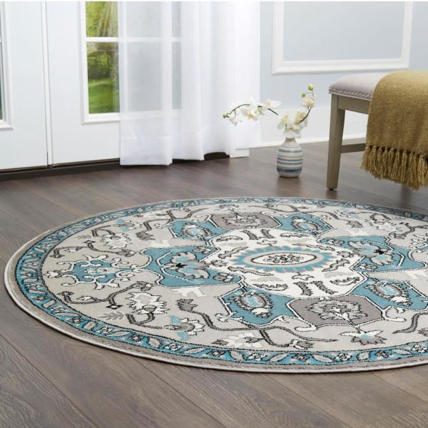 Home Dynamix Boho Silver 7 ft. 10 in. Indoor Round Area Rug 8R