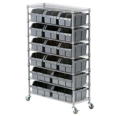 7-Shelf Commercial Bin Rack System