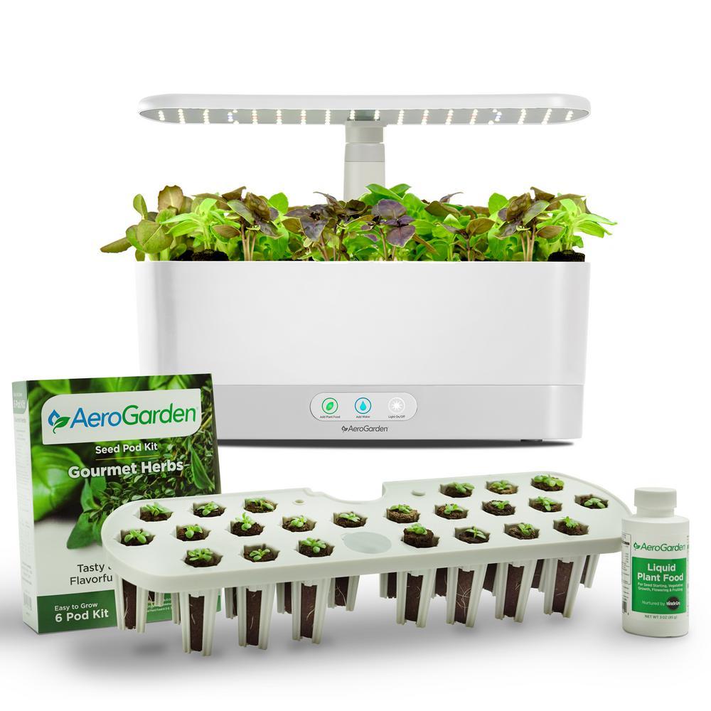 AeroGarden White Harvest Slim with Seed Starting System Bundle Deals