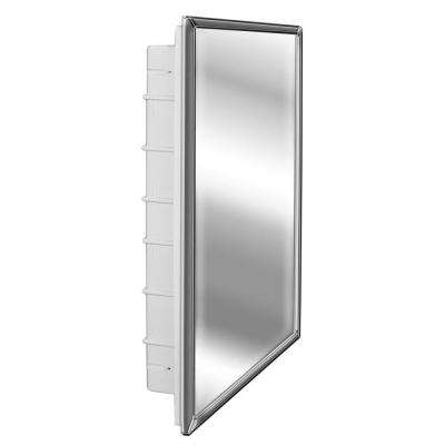 Spacecab 16 in. x 26 in. x 3-1/2 in. Framed Recessed 1 Door Medicine Cabinet with 6 Shelves and Chrome Frame Mirror