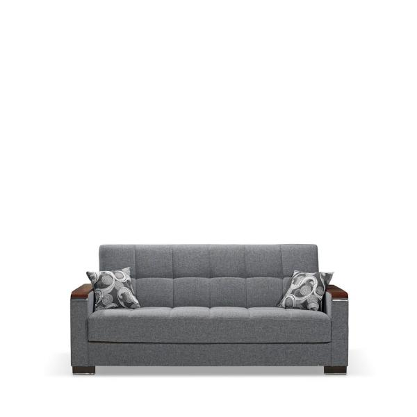 Armada 88 in. Gray Chenille 3-Seater Full Sleeper Convertible Sofa Bed with Storage