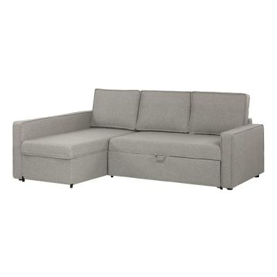Live-it Cozy 1-Piece Gray Fog Polyester Sectional Sofa with Reversible Sleeper and Removable Cushions