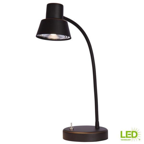 Hampton Bay 14 In Oil Rubbed Bronze Integrated Led Desk Lamp 19181 000 The Home Depot