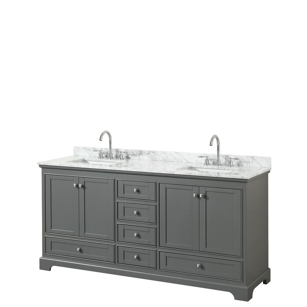Deborah 72 in. W x 22 in. D Vanity in Dark Gray with Marble Vanity Top in Carrara White with White Basins