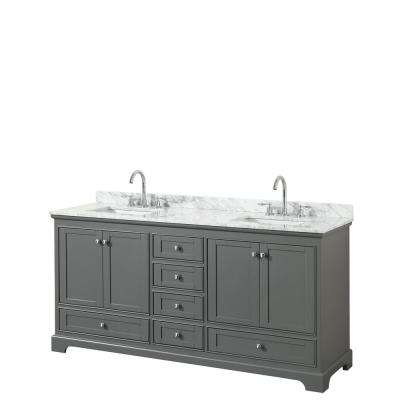 Deborah 72 in. W x 22 in. D Vanity in Dark Gray with Marble Vanity Top in Carrara White with White Basins