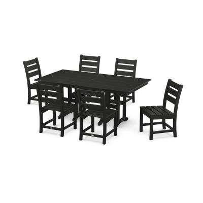 Grant Park Black 7-Piece Plastic Side Chair Outdoor Dining Set