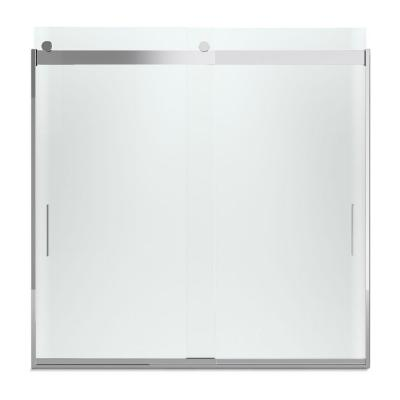 Levity 59 in. x 59.75 in. Semi-Frameless Sliding Tub Door in Silver with Handle