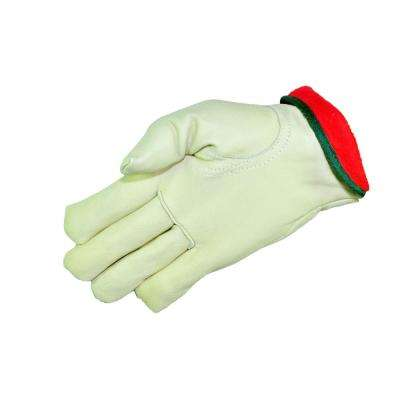 Cold Weather Premium Genuine Grain Cowhide Leather Large Gloves with Red Fleece Lining (3-Pair)