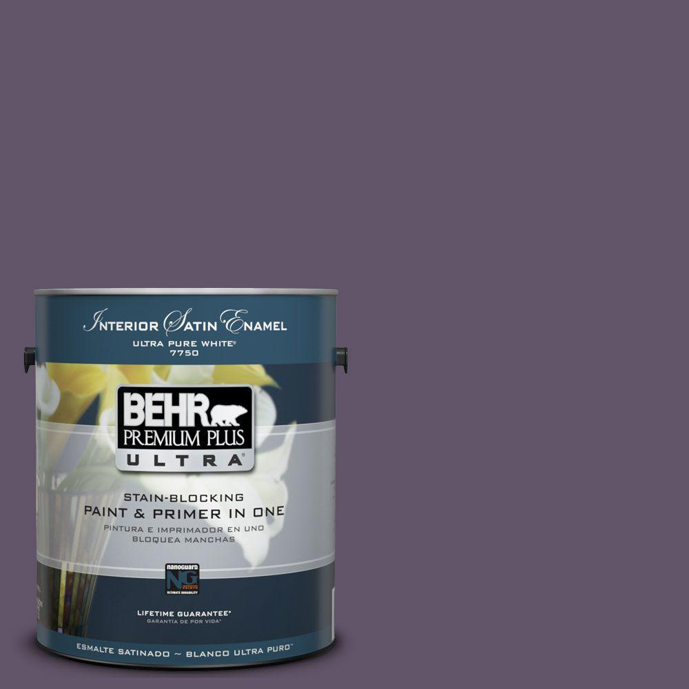 BEHR Premium Plus Ultra 1-Gal. #UL250-21 Darkest Grape Interior Satin Enamel Paint