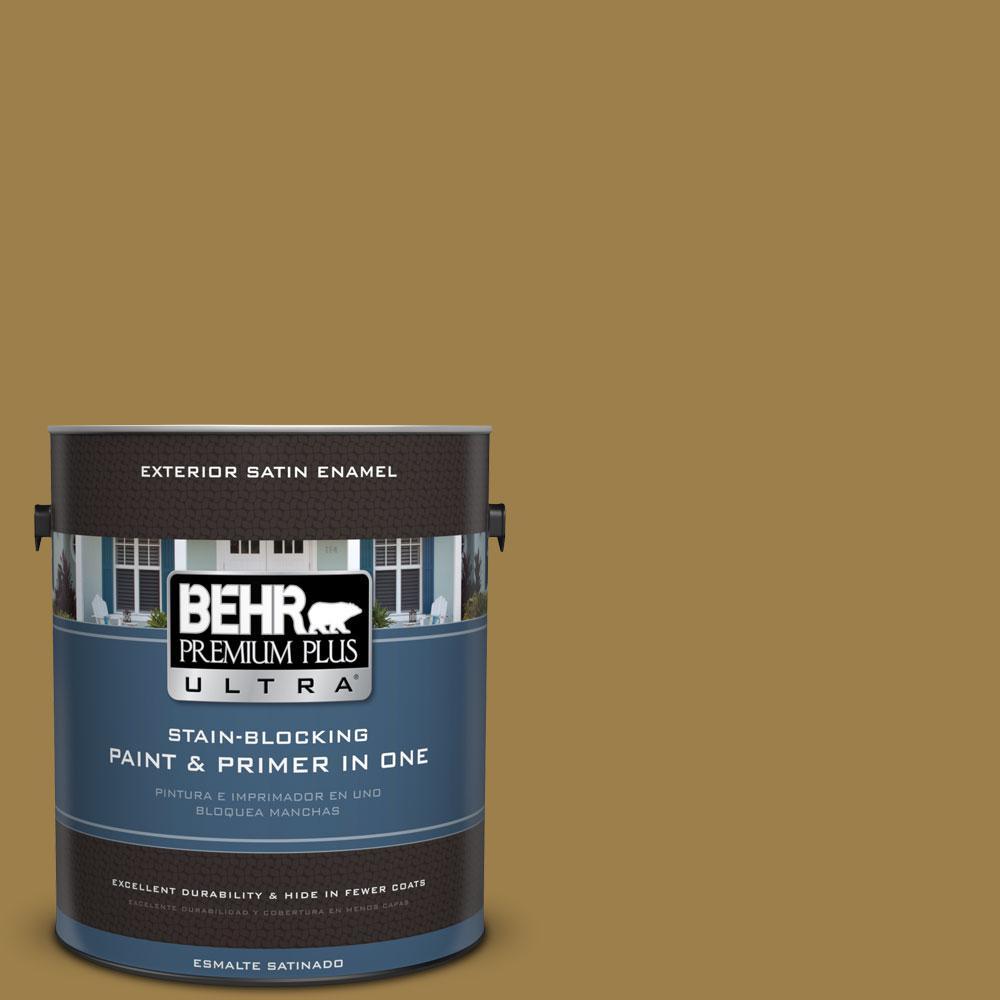 BEHR Premium Plus Ultra 1-gal. #S310-6 Gold Ink Satin Enamel Exterior Paint
